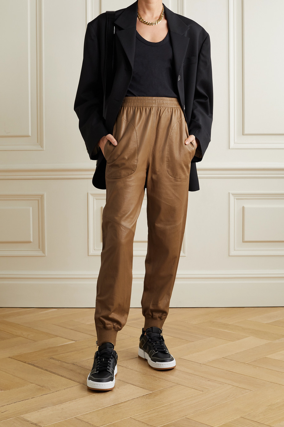 rag & bone Leather track pants