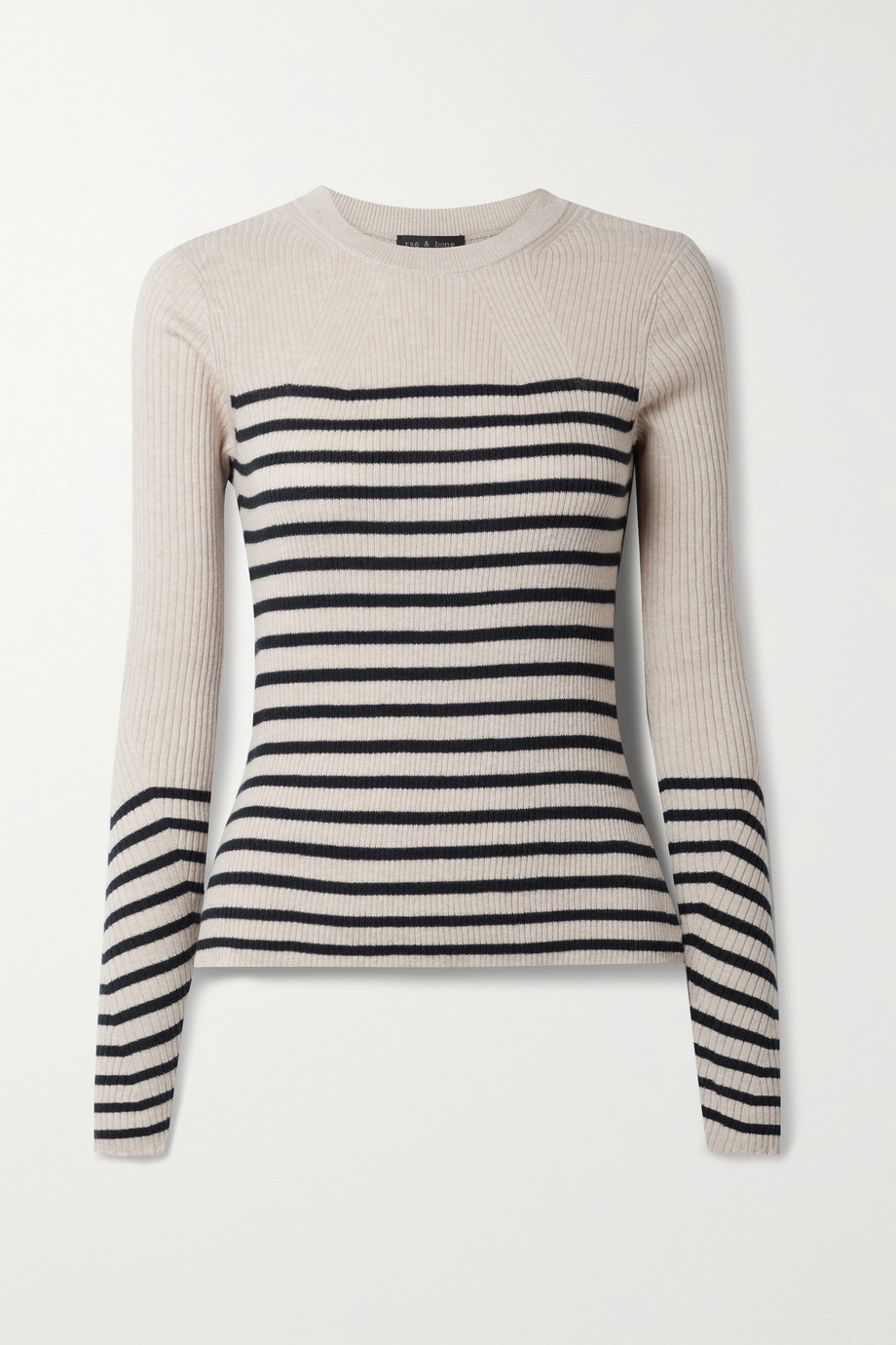 rag & bone Kate striped ribbed cotton and cashmere-blend sweater