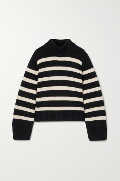 Khaite Sweaters MARION STRIPED CASHMERE TURTLENECK SWEATER