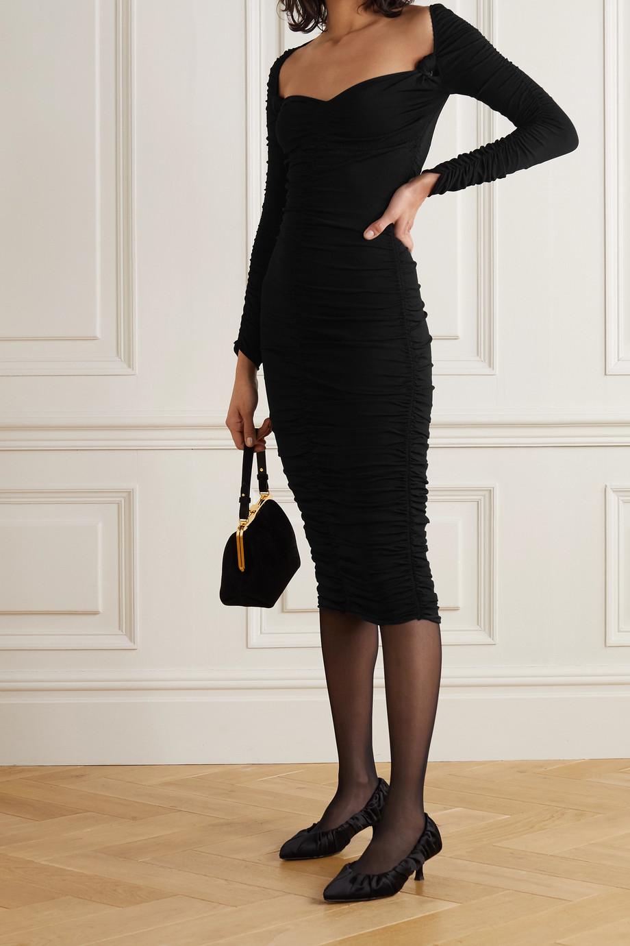 Khaite Charmaine ruched stretch-knit midi dress