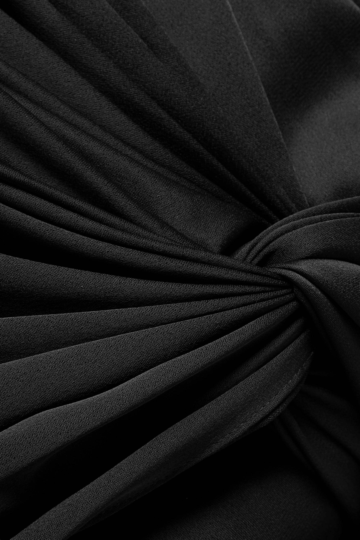 Khaite Robe longue nouée sur le devant en crêpe satiné à fronces Shawna
