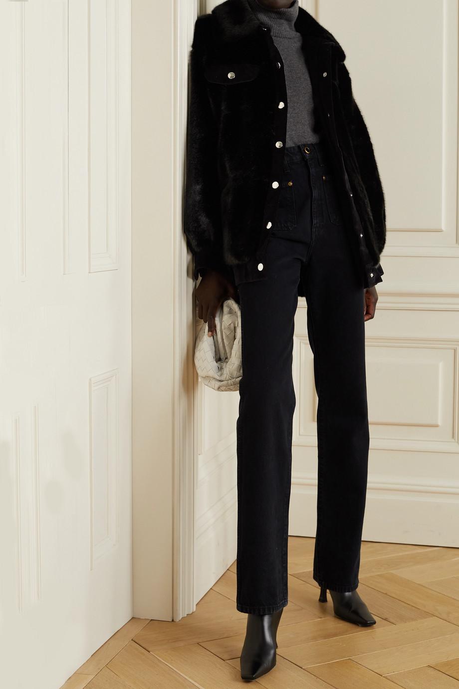 Faz Not Fur Velvet-trimmed faux fur jacket