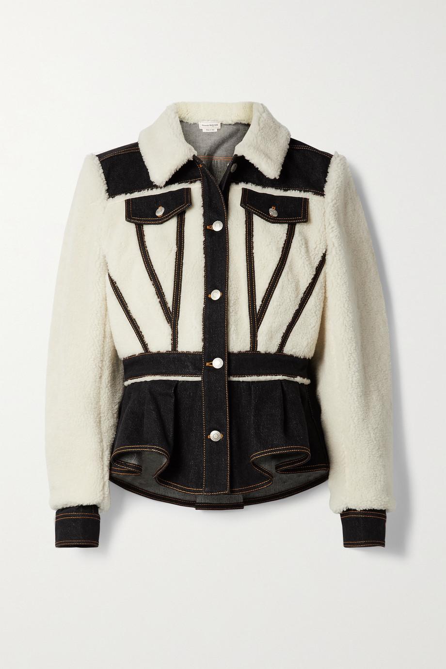 Alexander McQueen Paneled wool-blend and denim jacket