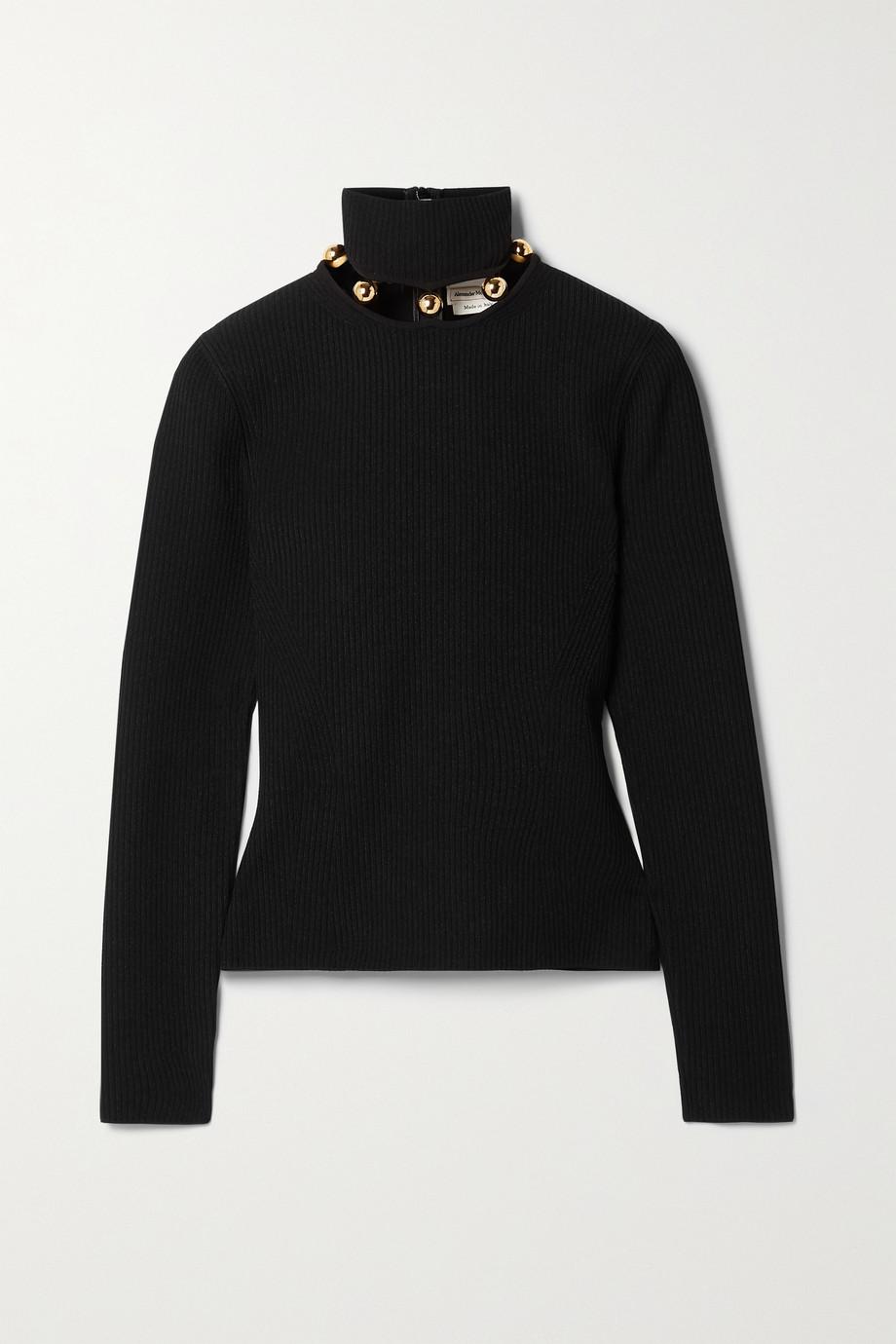 Alexander McQueen Embellished ribbed-knit turtleneck sweater