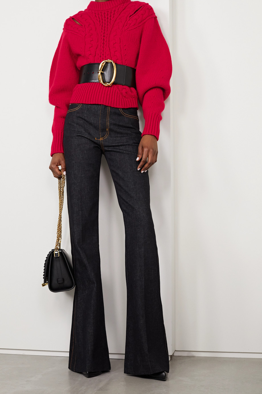 Alexander McQueen Cutout cable-knit wool and cashmere-blend sweater
