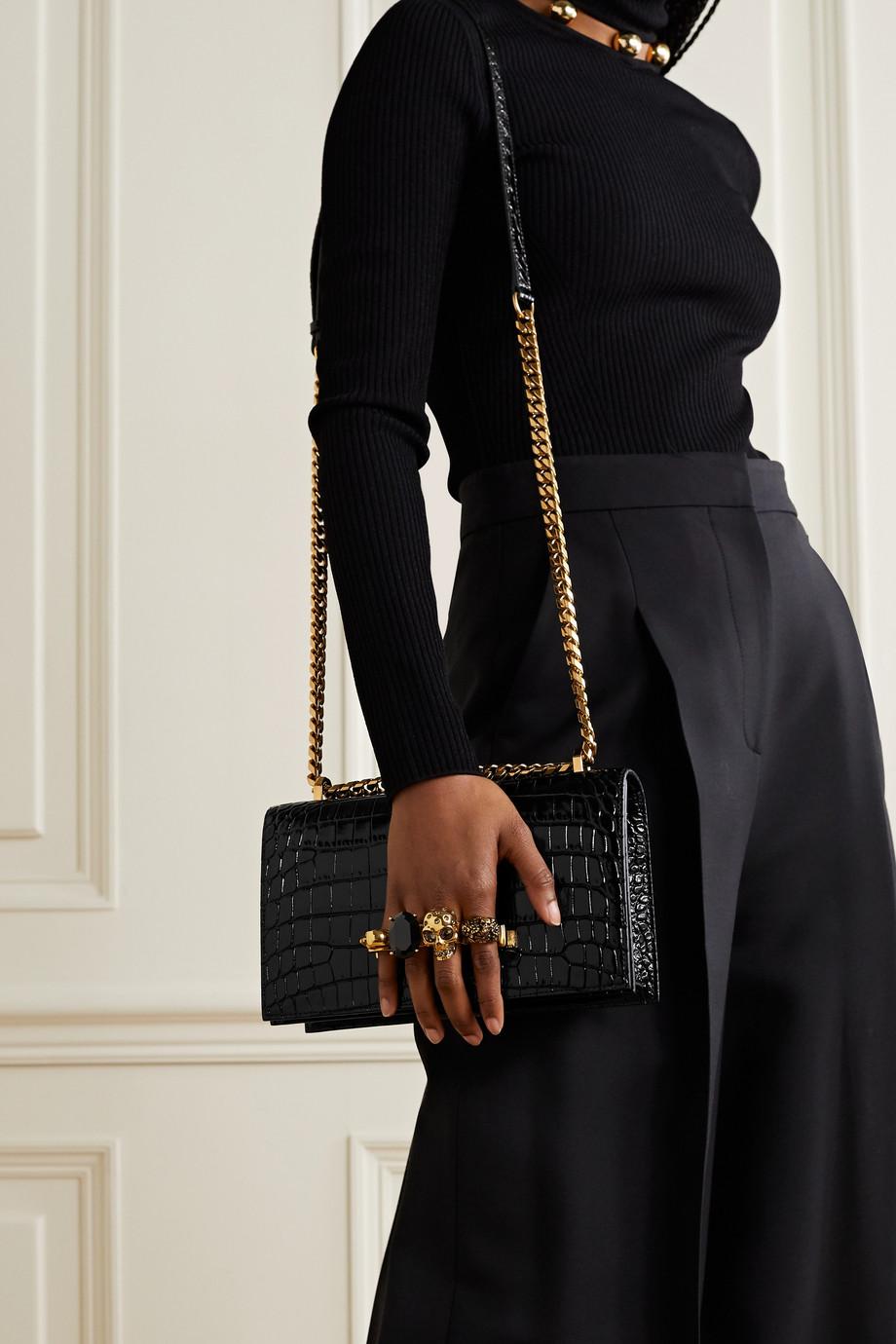 Alexander McQueen Jewelled Satchel embellished croc-effect leather shoulder bag