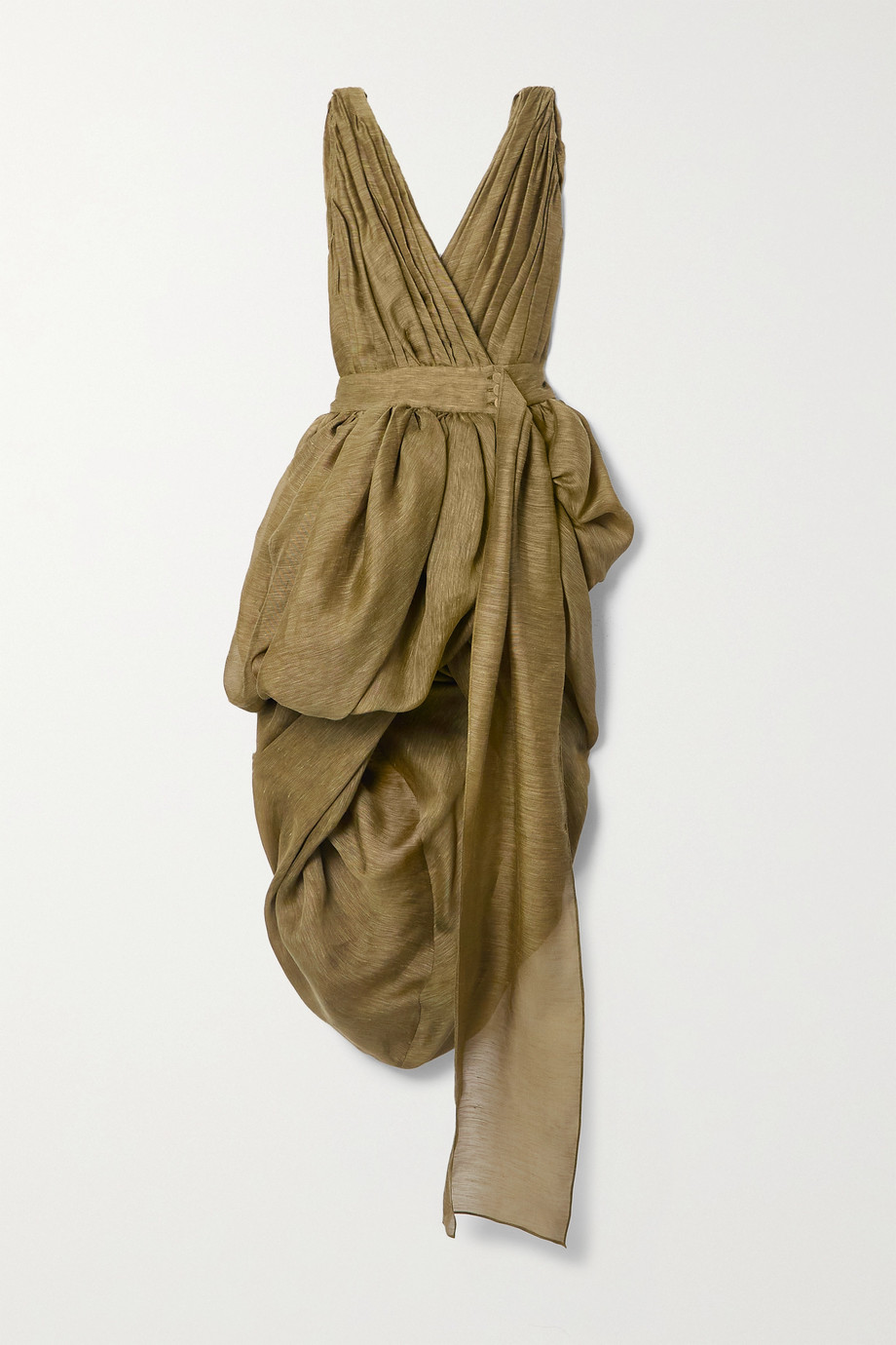 Altuzarra Canna gathered draped linen and silk-blend gauze wrap dress