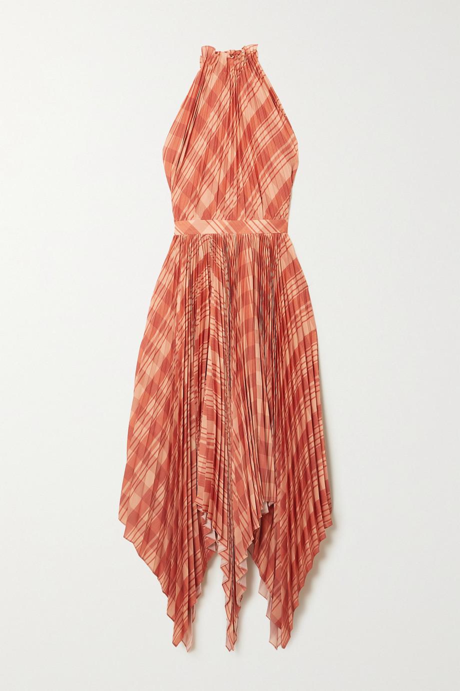 Altuzarra Dahlia asymmetric checked plissé-crepe de chine halterneck midi dress