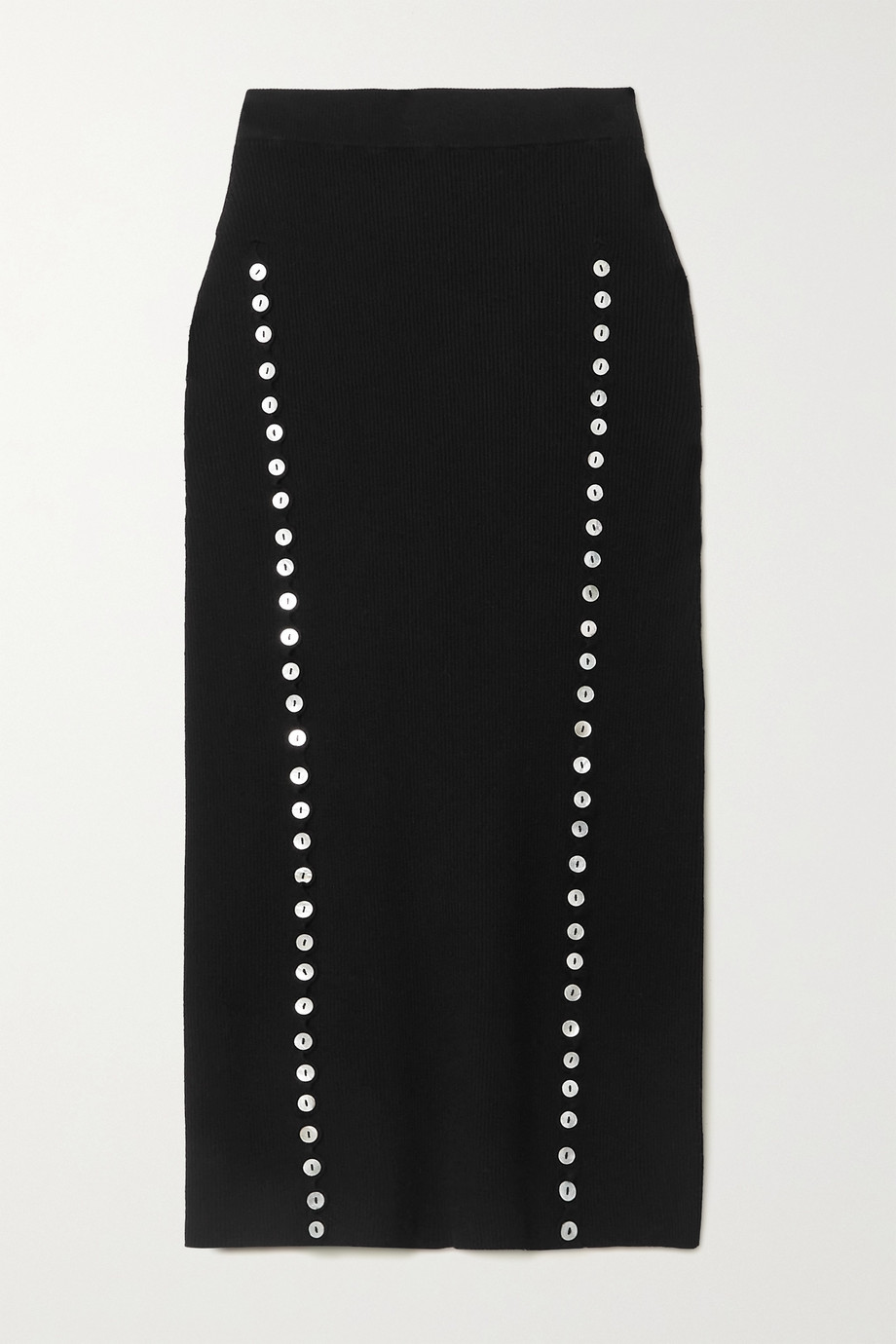 Altuzarra Marilla button-embellished ribbed-knit midi skirt