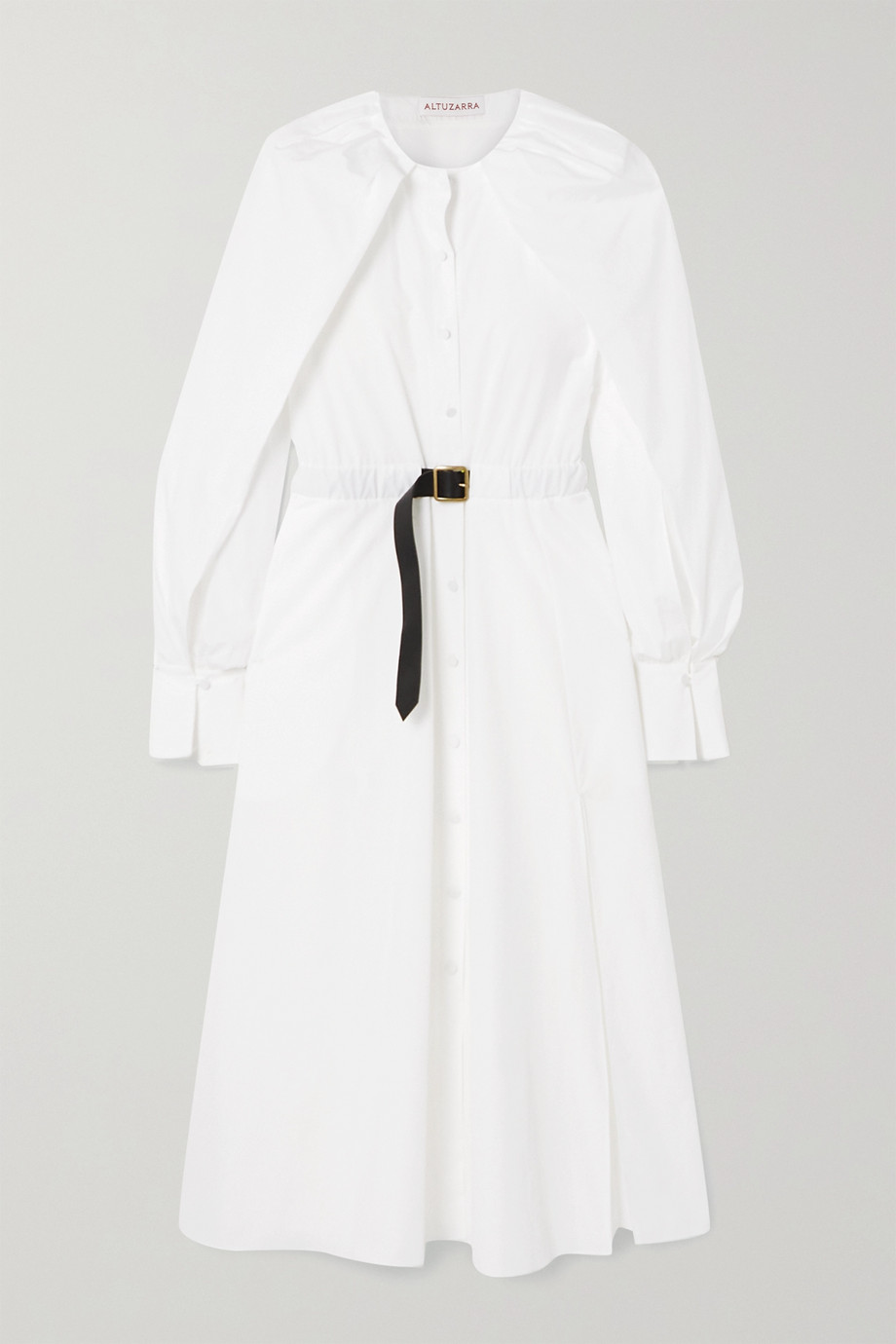 Altuzarra Liana buckled leather-trimmed cotton dress