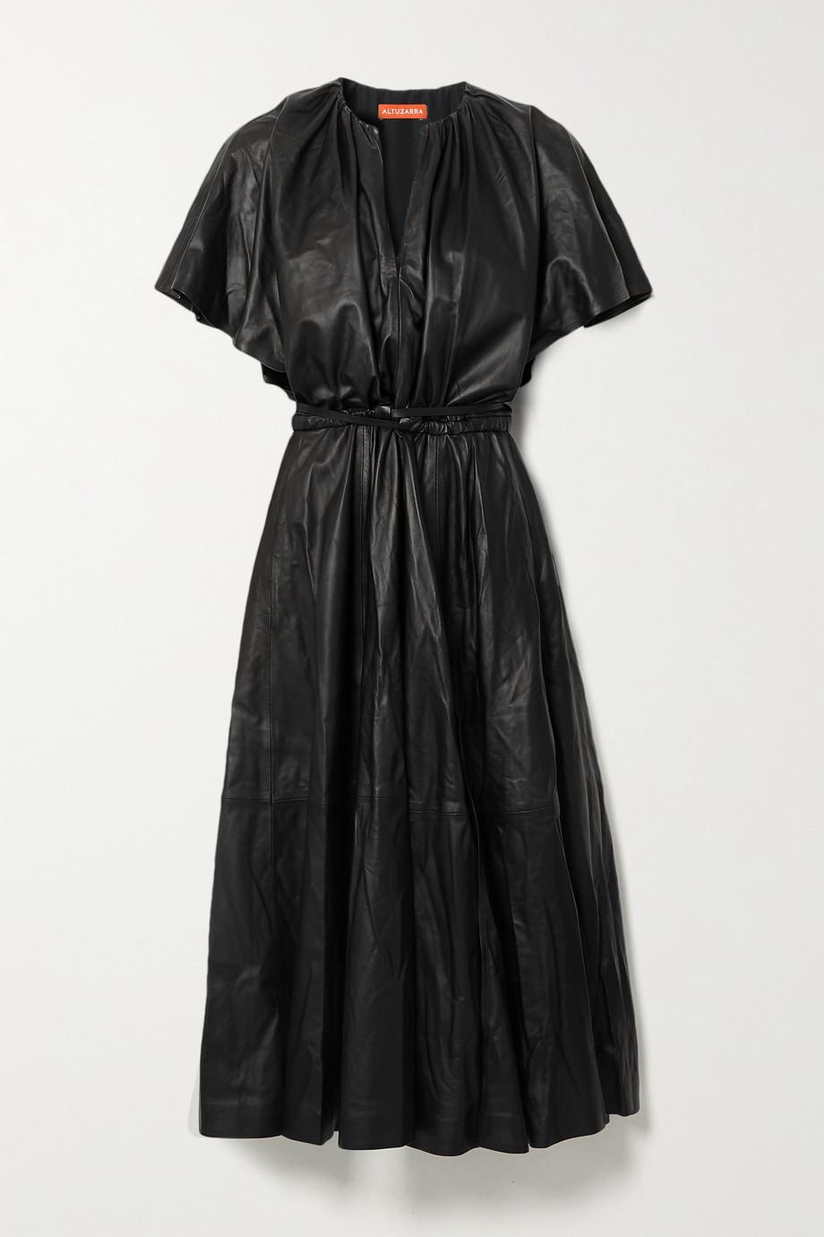Altuzarra Romy belted gathered leather midi dress