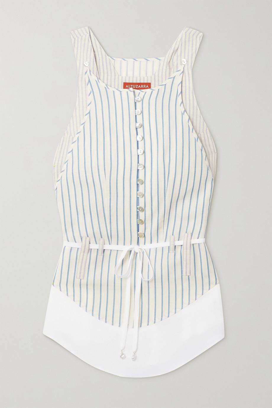 Altuzarra Florian belted striped cotton and linen-blend top