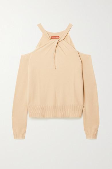 Altuzarra Wools NASRIN COLD-SHOULDER TWIST-FRONT WOOL AND CASHMERE-BLEND SWEATER