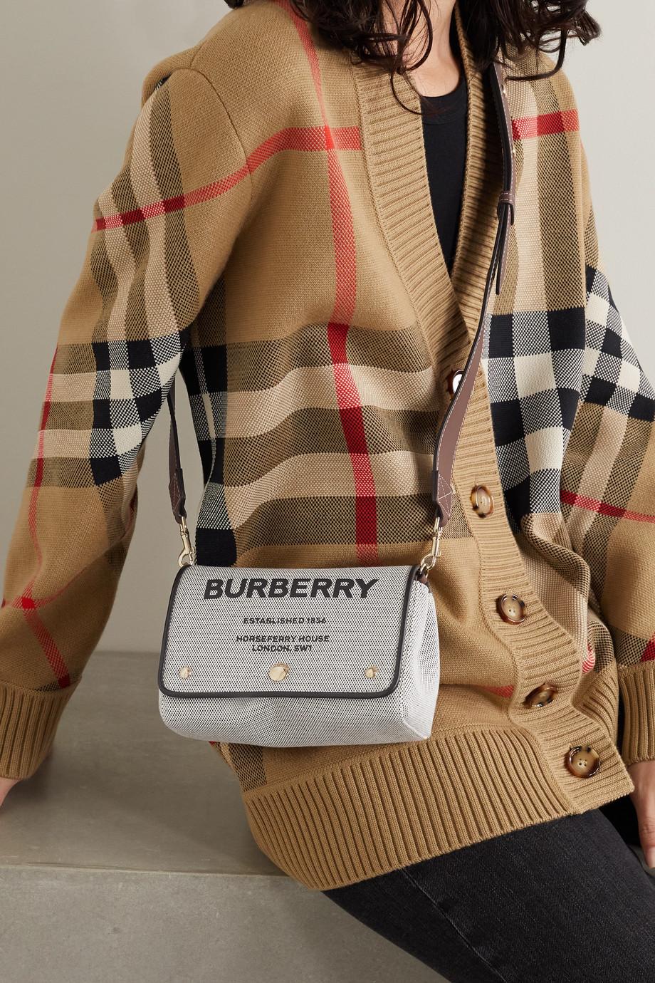 Burberry Sac porté épaule en toile imprimée à finitions en cuir