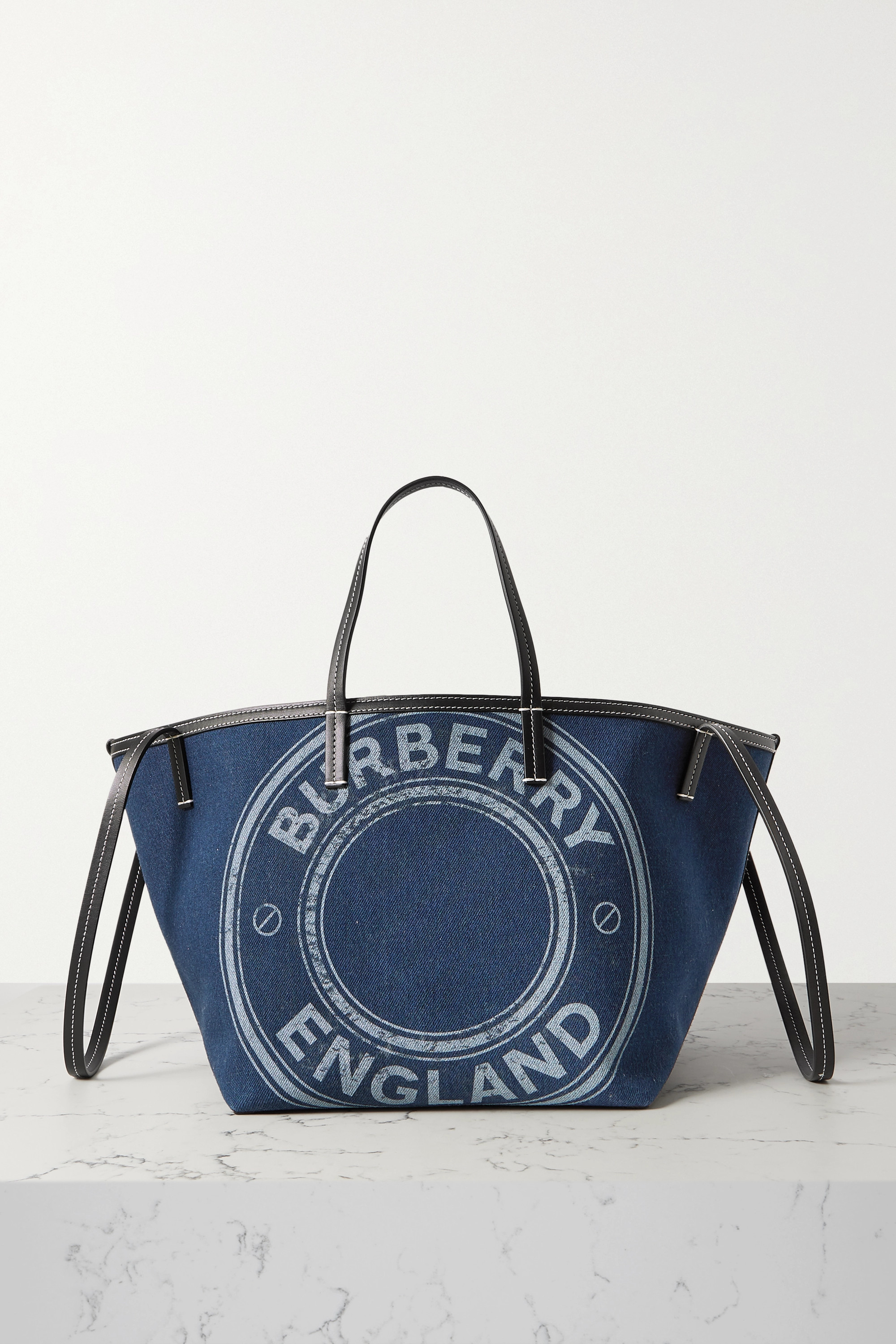 Burberry Beach mini leather-trimmed printed denim tote