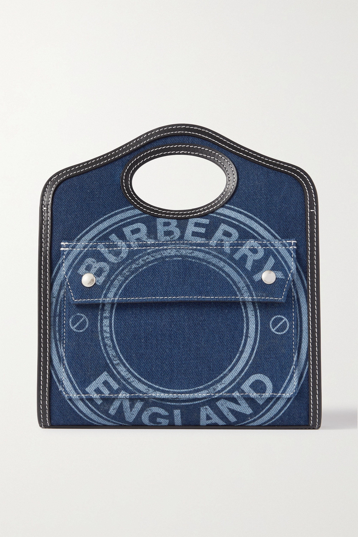 Burberry Pocket mini leather-trimmed printed denim tote