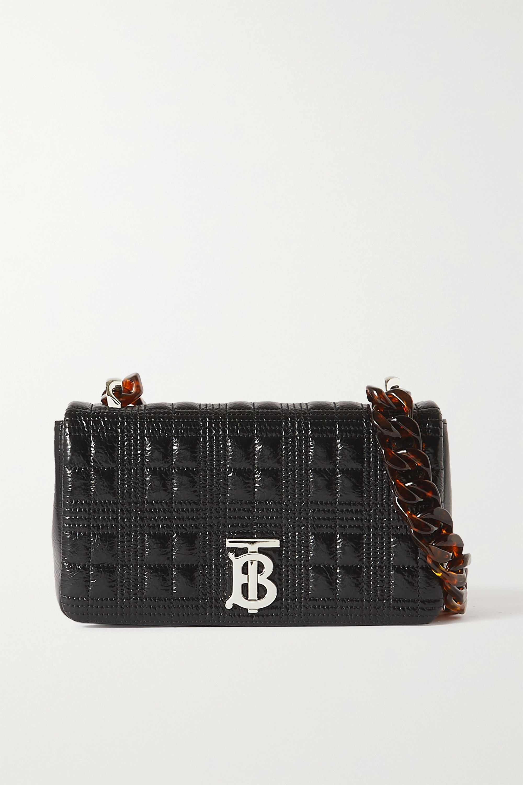 Burberry Small quilted glossed-leather and tortoiseshell resin shoulder bag