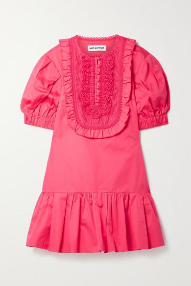 Self-Portrait Cottons CROCHET-TRIMMED RUFFLED COTTON-POPLIN MINI DRESS