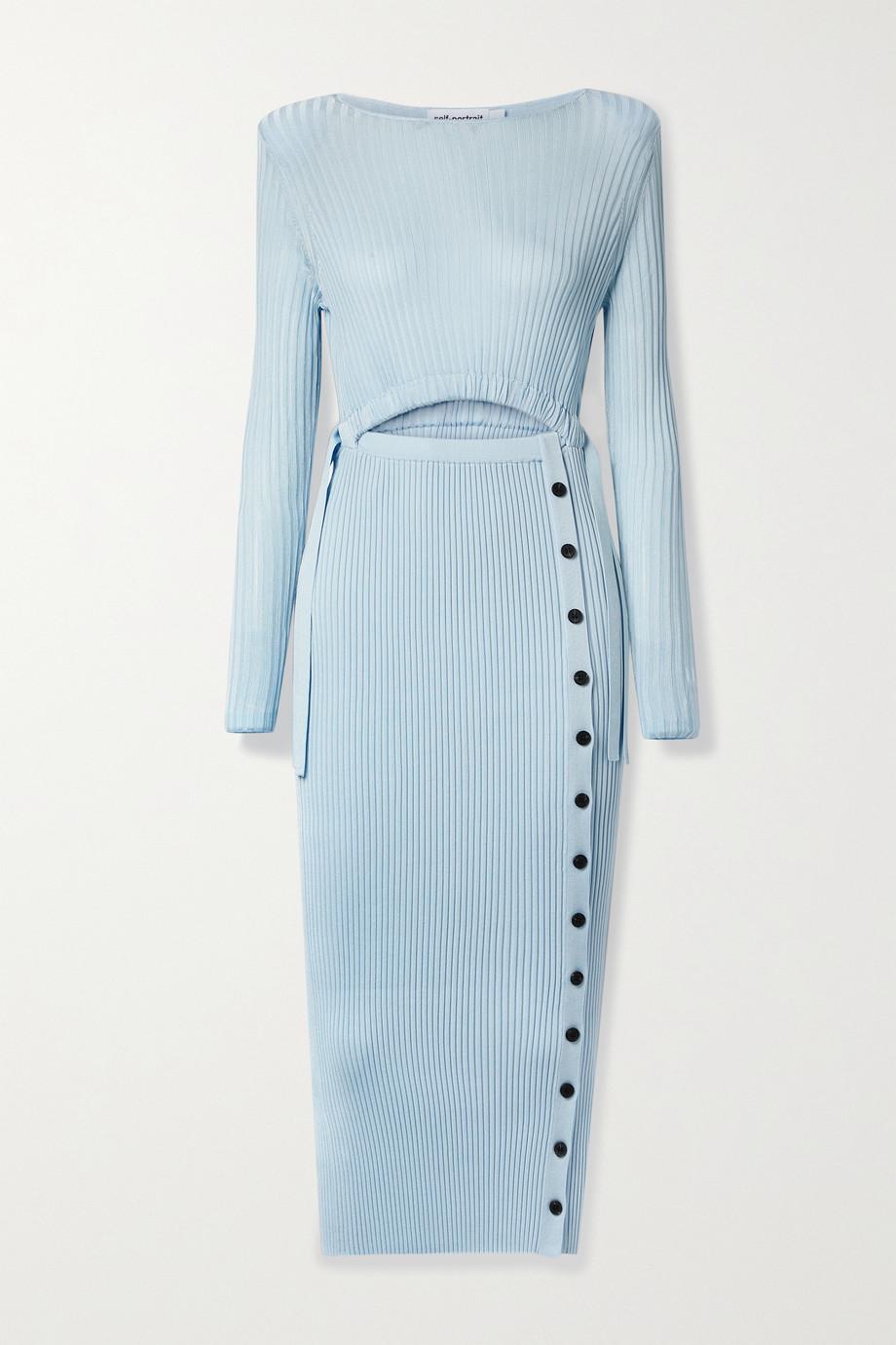 Self-Portrait Cutout ribbed-knit midi dress