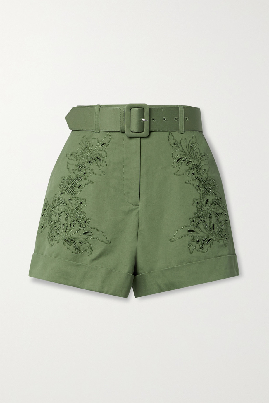 Self-Portrait Belted broderie anglaise cotton-twill shorts