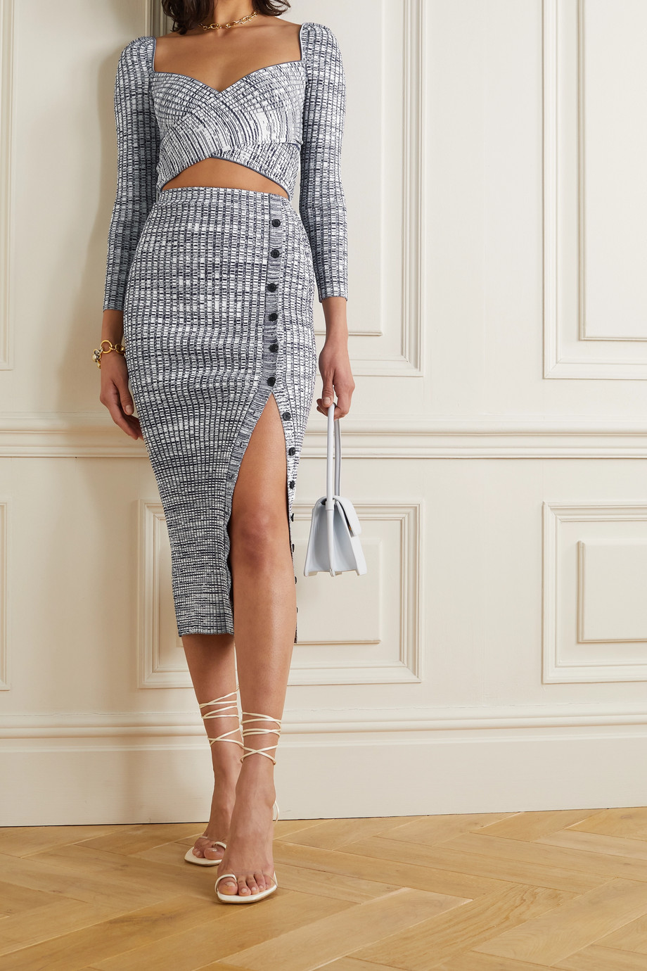 Self-Portrait Button-embellished mouline ribbed-knit midi skirt