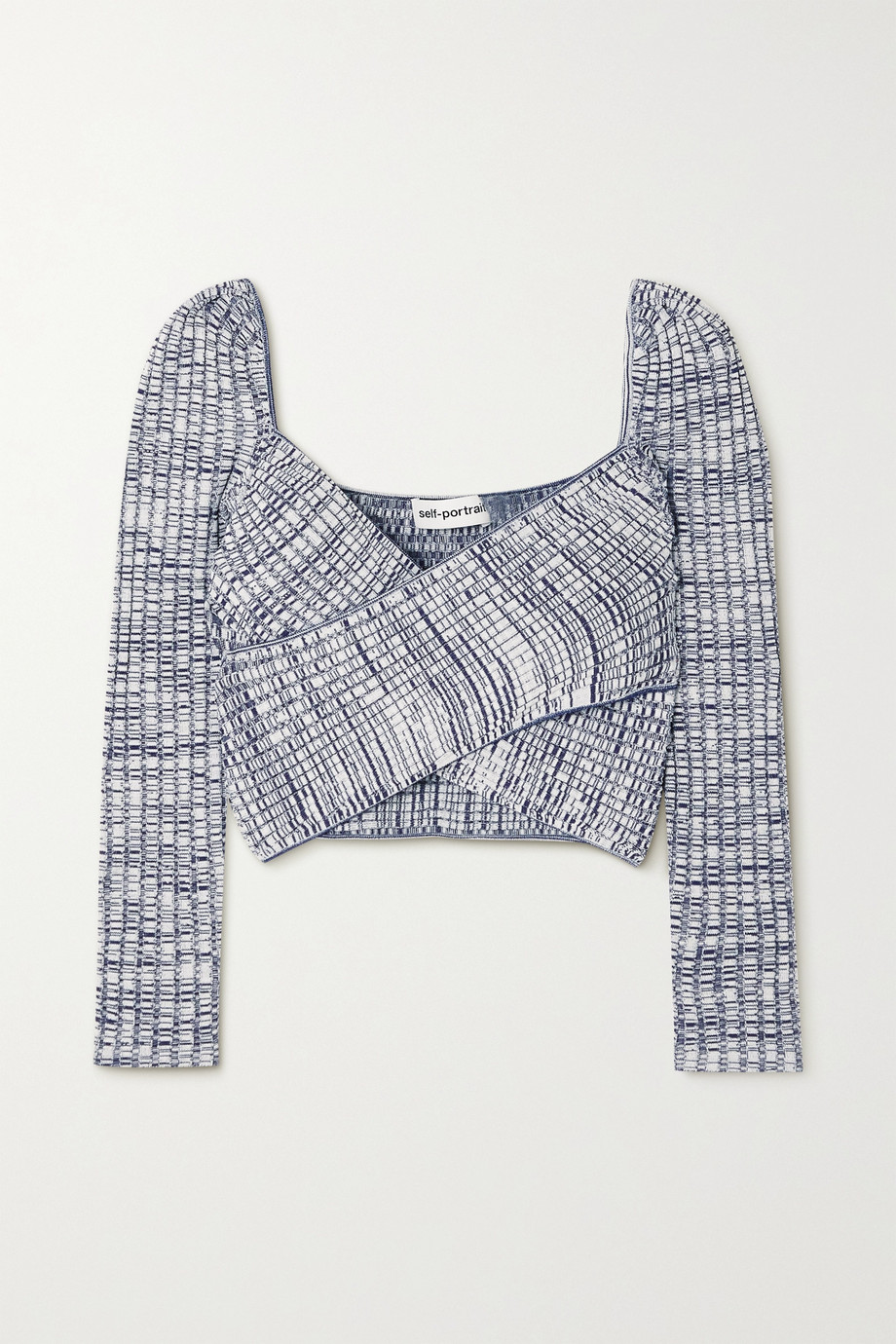Self-Portrait Cropped mouline ribbed-knit top