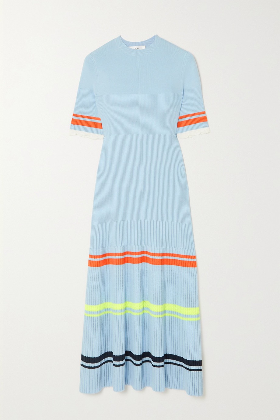 Victoria, Victoria Beckham Ruffled striped ribbed-knit midi dress