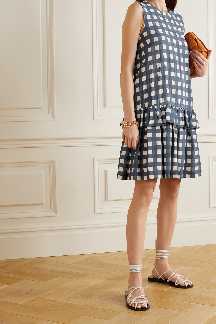 Victoria, Victoria Beckham Tiered gingham faille dress