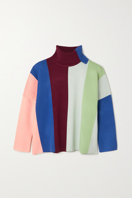Victoria, Victoria Beckham Striped knitted turtleneck sweater