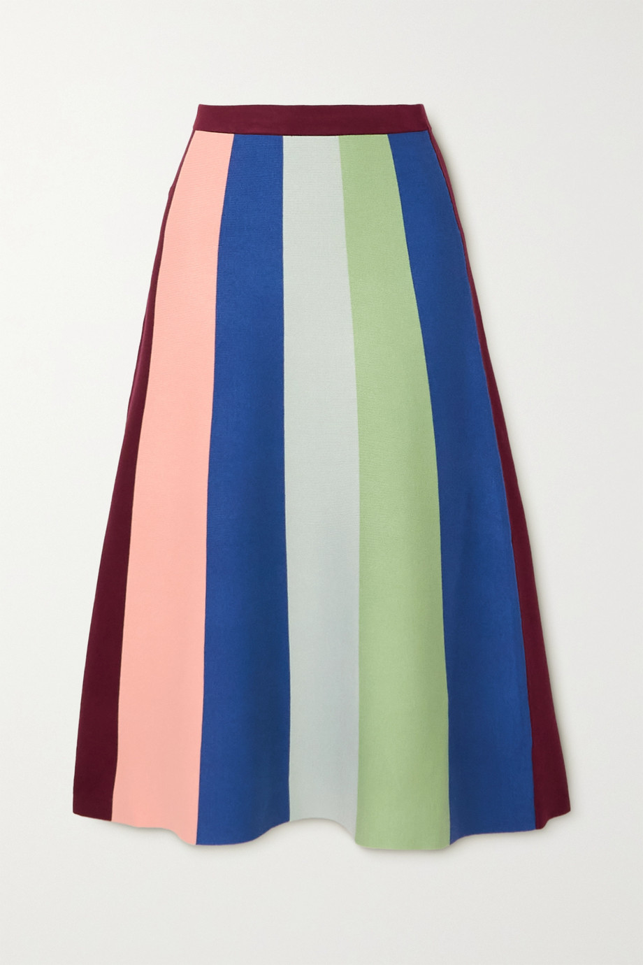 Victoria, Victoria Beckham Striped knitted midi skirt