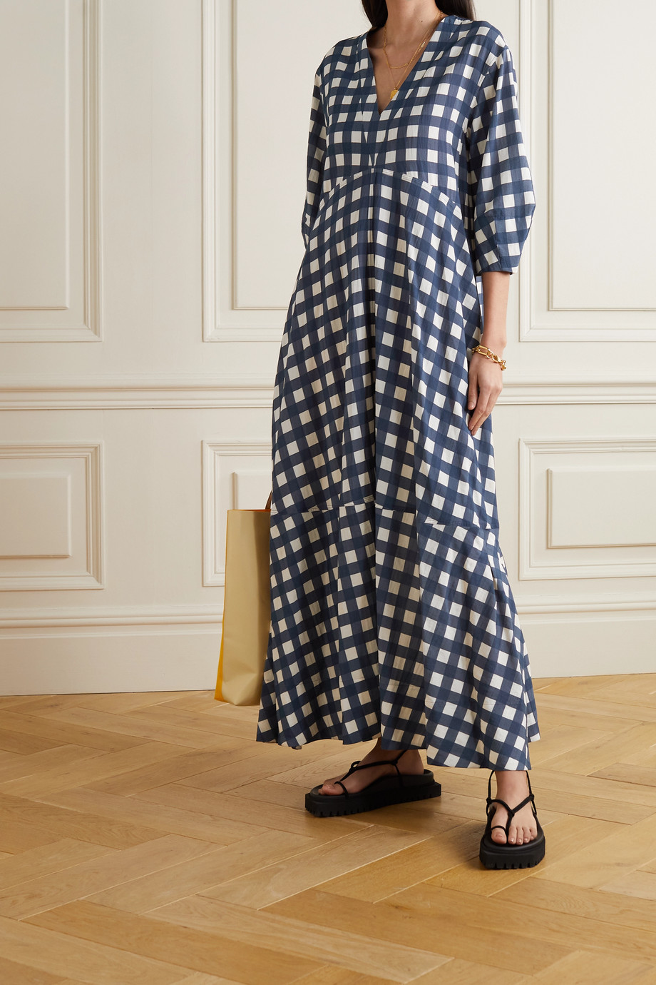 Victoria, Victoria Beckham Tiered gingham faille maxi dress