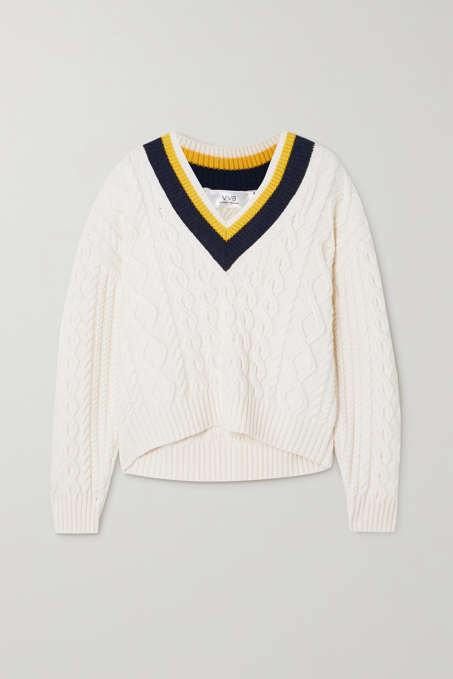 Victoria, Victoria Beckham Striped cable-knit sweater
