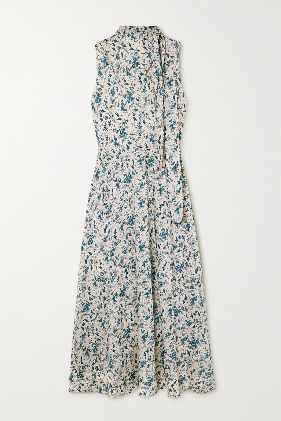 Victoria, Victoria Beckham Tie-neck printed recycled twill dress