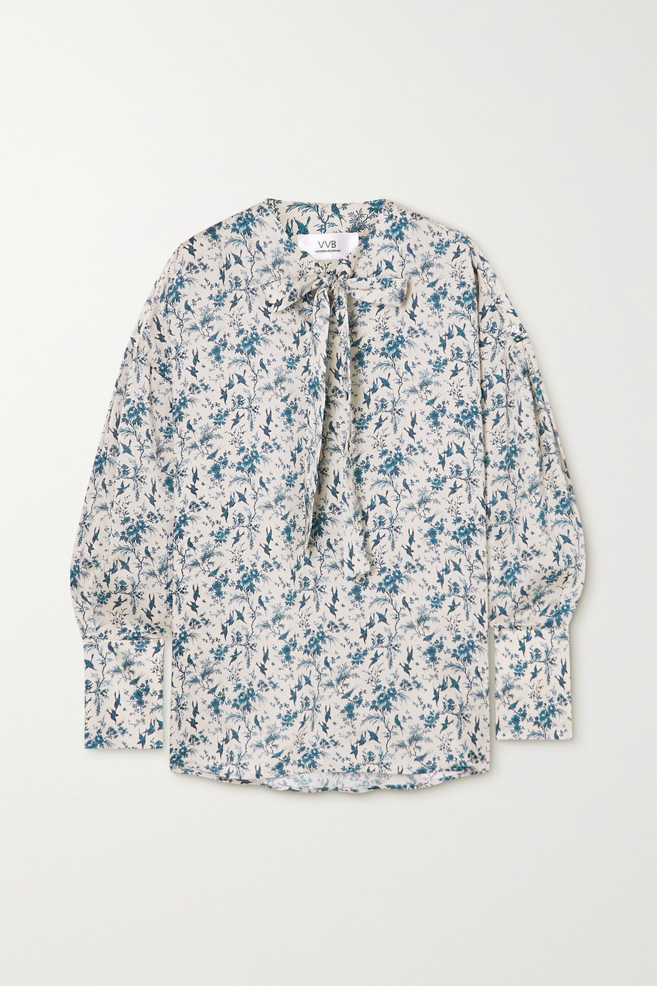 Victoria, Victoria Beckham Tie-neck printed recycled twill blouse