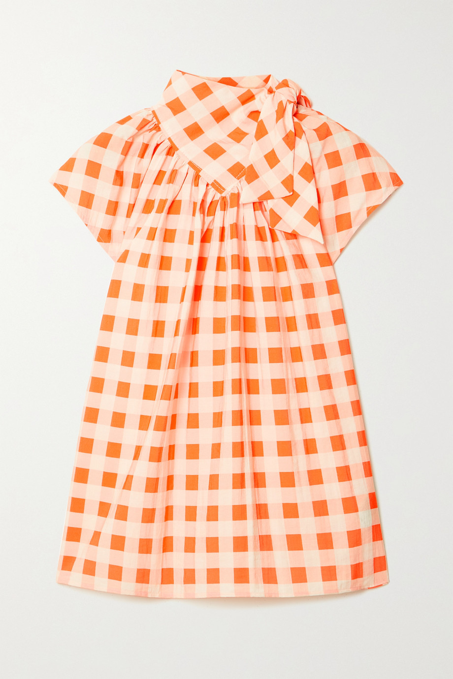 Victoria, Victoria Beckham Bow-detailed gingham crepe top