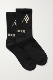 The Attico Intarsia ribbed stretch cotton-blend socks