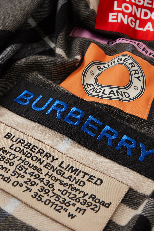 Burberry Appliquéd frayed checked cashmere scarf