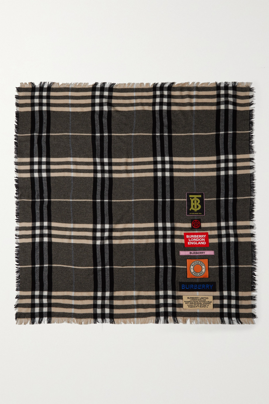 Burberry Appliquéd frayed checked cashmere scarf
