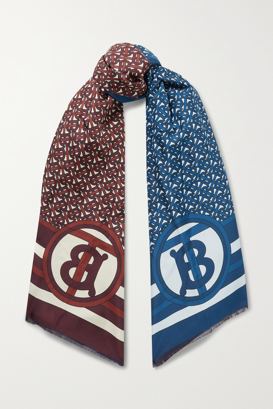 Burberry Reversible fringed printed mulberry silk-twill scarf