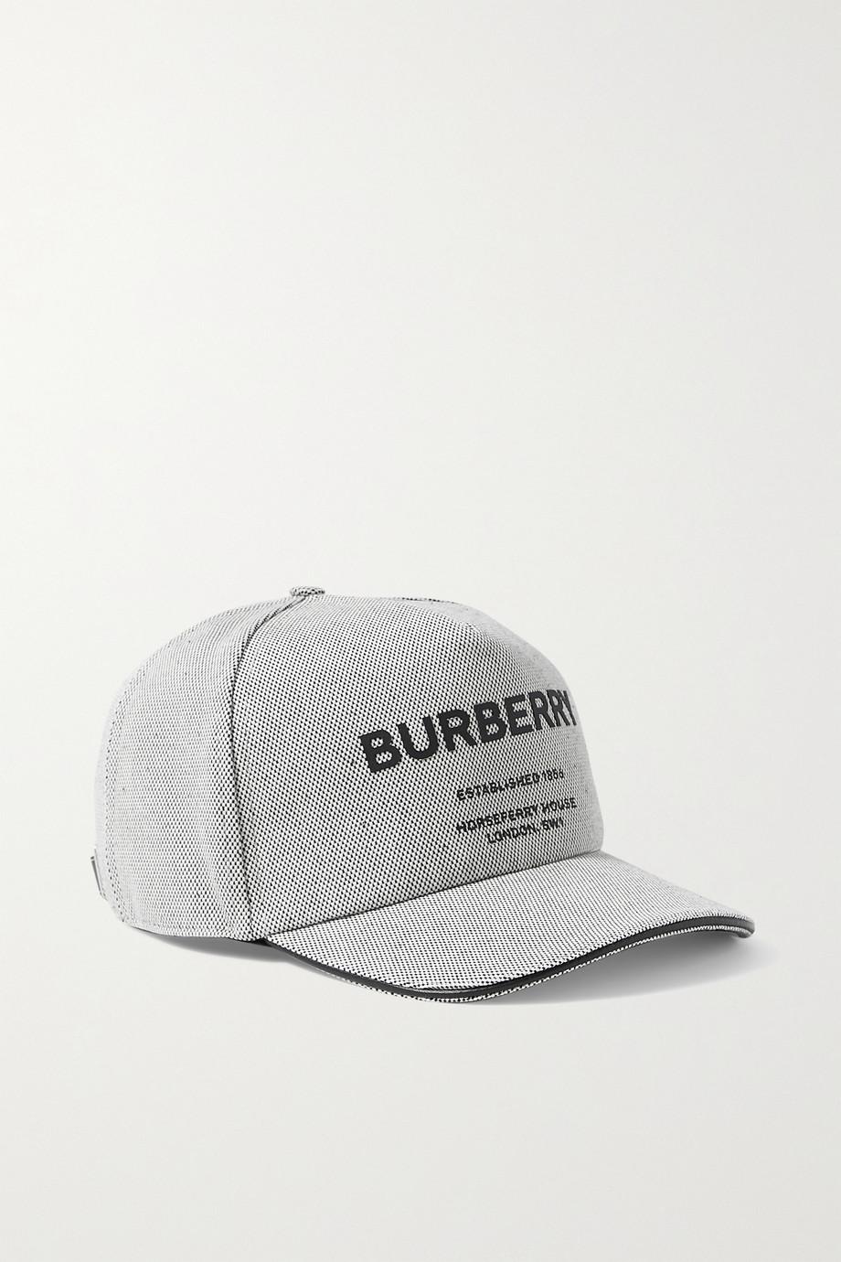 Burberry Leather-trimmed appliquéd cotton-canvas baseball cap