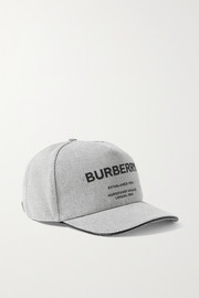 Burberry Leather-trimmed appliquéd cotton-canvas baseball cap