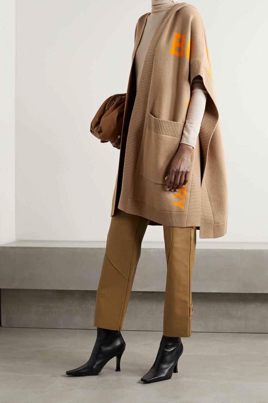 Burberry Hooded jacquard-knit cashmere-blend wrap