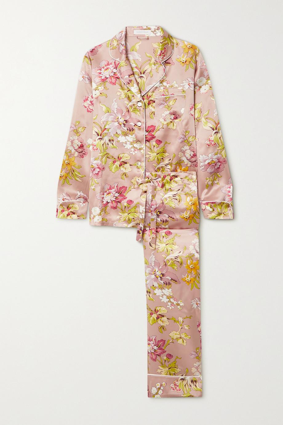 Olivia von Halle Lila Pyjama aus Seide mit Blumenprint