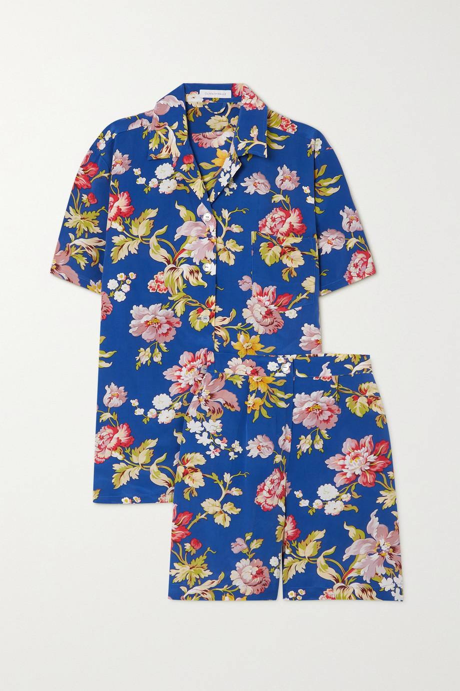 Olivia von Halle Emeli Pyjama aus Crêpe de Chine aus Seide mit Blumenprint