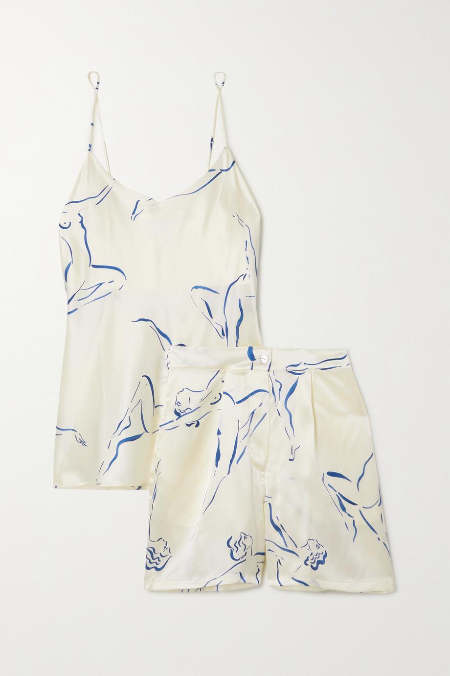 Olivia von Halle Indya Pyjama aus bedrucktem Seidensatin