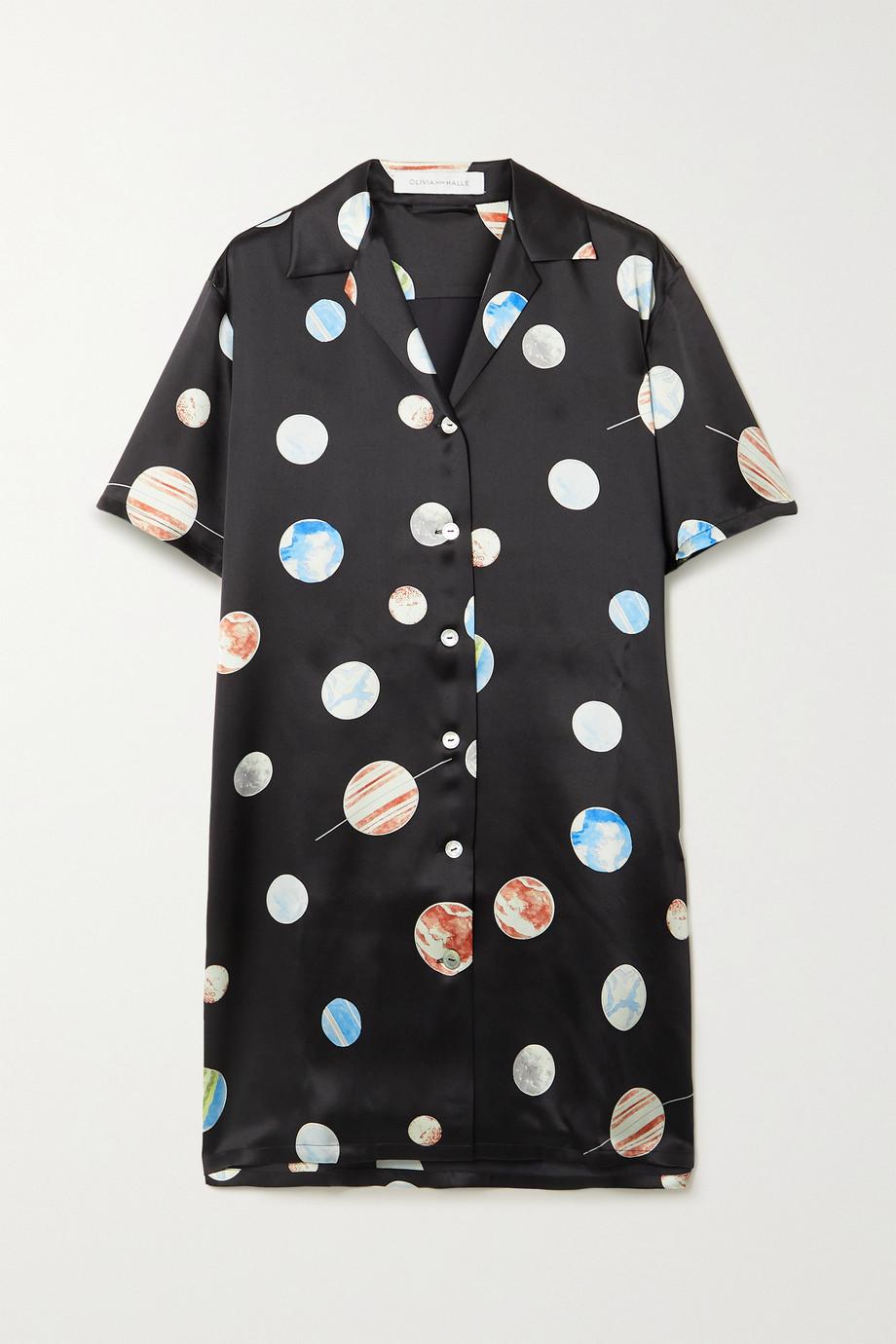 Olivia von Halle Amika printed silk-satin nightdress