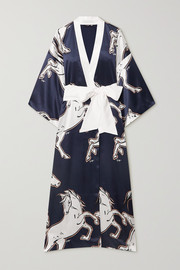 Olivia von Halle Queenie printed silk-satin robe