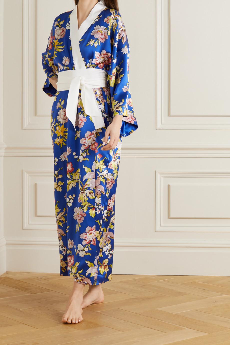 Olivia von Halle Kimono en satin de soie à imprimé fleuri Queenie