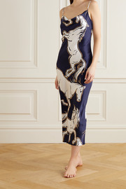 Olivia von Halle Bibi printed silk-satin nightdress