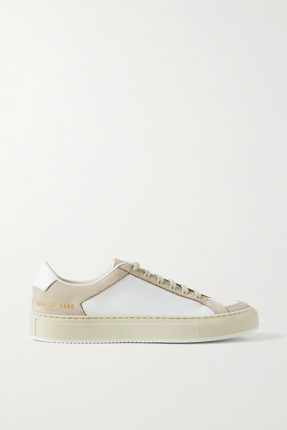 Common Projects Retro two-tone perforated leather and nubuck sneakers
